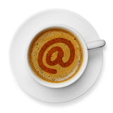 E-mail icon on coffee Royalty Free Stock Photos