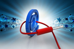 E mail icon connected with cable Royalty Free Stock Image