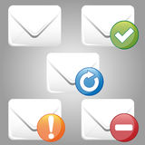 E-Mail Icon. Five different colored icons for mail delivery Royalty Free Stock Photo