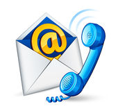 E-mail icon and phone. Isolated on white Royalty Free Stock Images