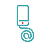 E-mail icon on smartphone screen vector illustration. Blue mail icon on white background. Smartphone pictogram and mail icon . Touch screen icon in two colors Stock Photos