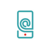 E-mail icon on smartphone screen vector illustration. Stock Photo