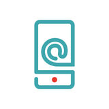 E-mail icon on smartphone screen vector illustration. Royalty Free Stock Photos