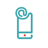 E-mail icon on smartphone screen vector illustration. Blue mail icon on white background. Smartphone pictogram and mail icon . Touch screen icon in two colors Royalty Free Stock Image
