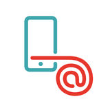 E-mail icon on smartphone screen vector illustration. Red mail icon on white background. Smartphone pictogram and mail icon . Touch screen icon in two colors Royalty Free Stock Images