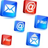 E-mail icons. E-mail 3d icons. Vector illustration Stock Image