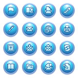 E-mail icons on blue buttons. Stock Photos