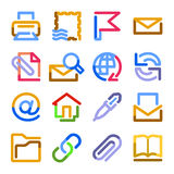 E-mail icons. Color contour series. Royalty Free Stock Photography