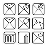 E-mail icons set Royalty Free Stock Images