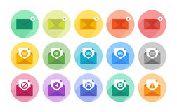 E-mail icons set Royalty Free Stock Photos