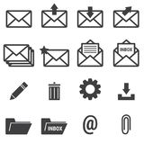 E-mail icons, vector illustion flat design style. E-mail icons on white background, vector illustion flat design style Royalty Free Stock Photography