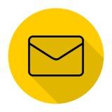 E-Mail-Ikonen eingestellt mit langem Schatten Stockfotos