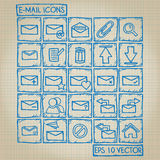 E-Mail-Ikonen-Gekritzel-Satz Lizenzfreie Stockbilder