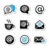 E-mail, Internet-koffie, geplaatste wifipictogrammen vector illustratie
