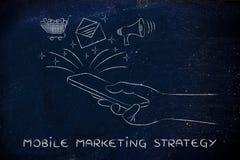 E-mail, kar & luidspreker die een smartphone, Mobiele Mkt naar voren komen Royalty-vrije Stock Foto