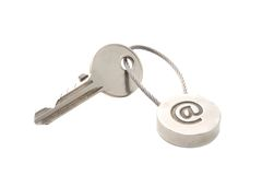 E-mail key. Key with e-mail symbol isolated over white Royalty Free Stock Photos