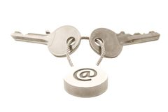 E-mail keys. Two keys with e-mail symbol isolated over white Stock Images