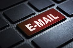 E-mail keyword on keyboard. E-mail keyword concept on computer keyboard technology background macro shot stock illustration