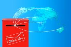 E-Mail-Konzept, roter Briefkasten Stockbild