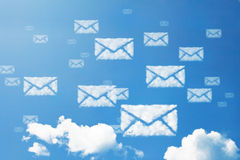E-mail or letter envelope icon cloud shape Stock Image