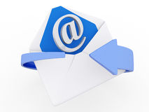 E-mail marketing concept. 3d mail envelope and blue circular arrows, e-mail marketing concept Royalty Free Stock Photo