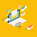 E-mail marketing concepten Mobiele marketing, e-mail die adverteren, stock illustratie