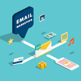 E-mail marketing concepts. Mobile marketing, email advertising, Stock Image