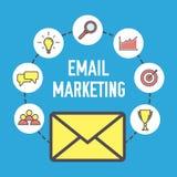 E-Mail-Marketing-Design Flaches Fahnenkonzept mit Ikonen Digital-Marketing Vektorillustration auf blauem Hintergrund Stockbilder