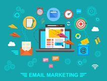 E-mail marketing. Email. Concept. Exchange of information by e-mail. Vector illustration Royalty Free Stock Images