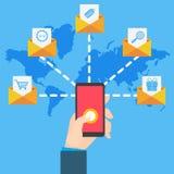 E-Mail-Marketing mit der Handhand, die Smartphone hält stock abbildung