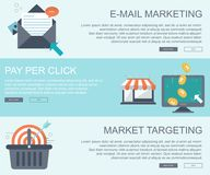 E mail marketing, pay per click and market targeting banners. Flat vector. Illustration Stock Images