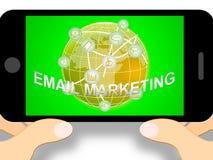 E-mail Marketing Pictogrammen die op 3d Illustratie van Emarketing wijzen Royalty-vrije Illustratie