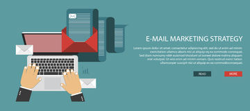 E mail marketing strategy. E mail marketing concept. Flat banner for websites. Vector illustration Royalty Free Stock Photography
