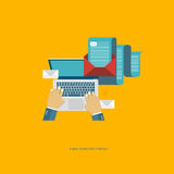 E mail marketing strategy. E mail marketing strategy concept. Flat vector illustration Stock Image
