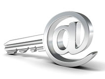 Free E-mail Metallic Key At Sign. Internet Security Concept Stock Photo - 30157150