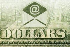 E-mail money transfers. Postal money transfers. fragment of a dollar bill marked e-mail Stock Image