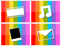 E-mail music movie photo in colorful background il Stock Photography