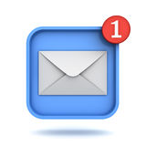 E mail notification one new email message in the inbox button concept. Isolated over white background with shadow. 3D rendering Royalty Free Stock Photography