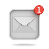 E mail notification one new email message in the inbox button concept Stock Photo