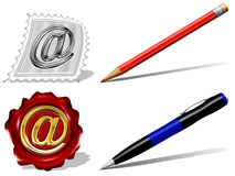 E-mail, pencil and pen Icons Royalty Free Stock Photography