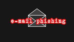 E-mail phishing text with mail symbol as online internet security warning