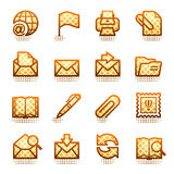 E-mail pictogrammen. Bruine reeks. Royalty-vrije Stock Foto