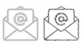 E-mail poligonal de Mesh Open do quadro do fio e ícone do mosaico ilustração do vetor
