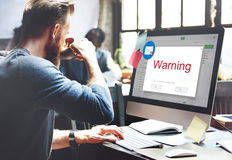 E-mail Popup Warning Window Concept. Businesman using computer e-mail popup warning window Stock Photography