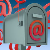 E-mail Postbox Shows Inbox And Outbox Mail. E-mail Postbox Showing Inbox And Outbox Mail Royalty Free Stock Photo