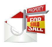 E-mail and real estate sold sign Royalty Free Stock Image
