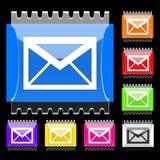 E-mail rechthoekige knopen Stock Illustratie
