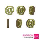 E-mail roterende pictogramreeks kaders Stock Afbeelding