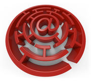 E-Mail-rotes Labyrinth lokalisiert Stock Abbildung