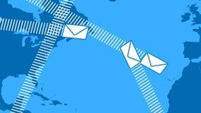 E-Mail schlägt auf der ganzen Welt fliegen ein stock abbildung